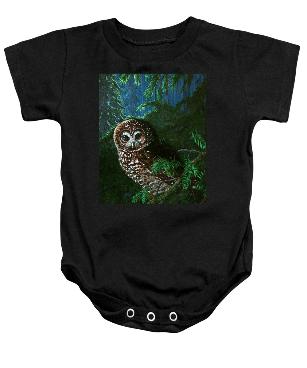 Owl Baby Onesie featuring the painting Spotted Owl In Ancient Forest by Nick Gustafson