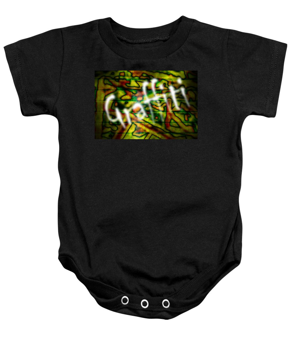 Graffiti Baby Onesie featuring the photograph Spray Painted Graffiti by Phill Petrovic