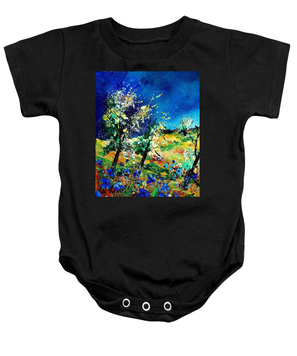 Tree Baby Onesie featuring the painting Spring 56 by Pol Ledent