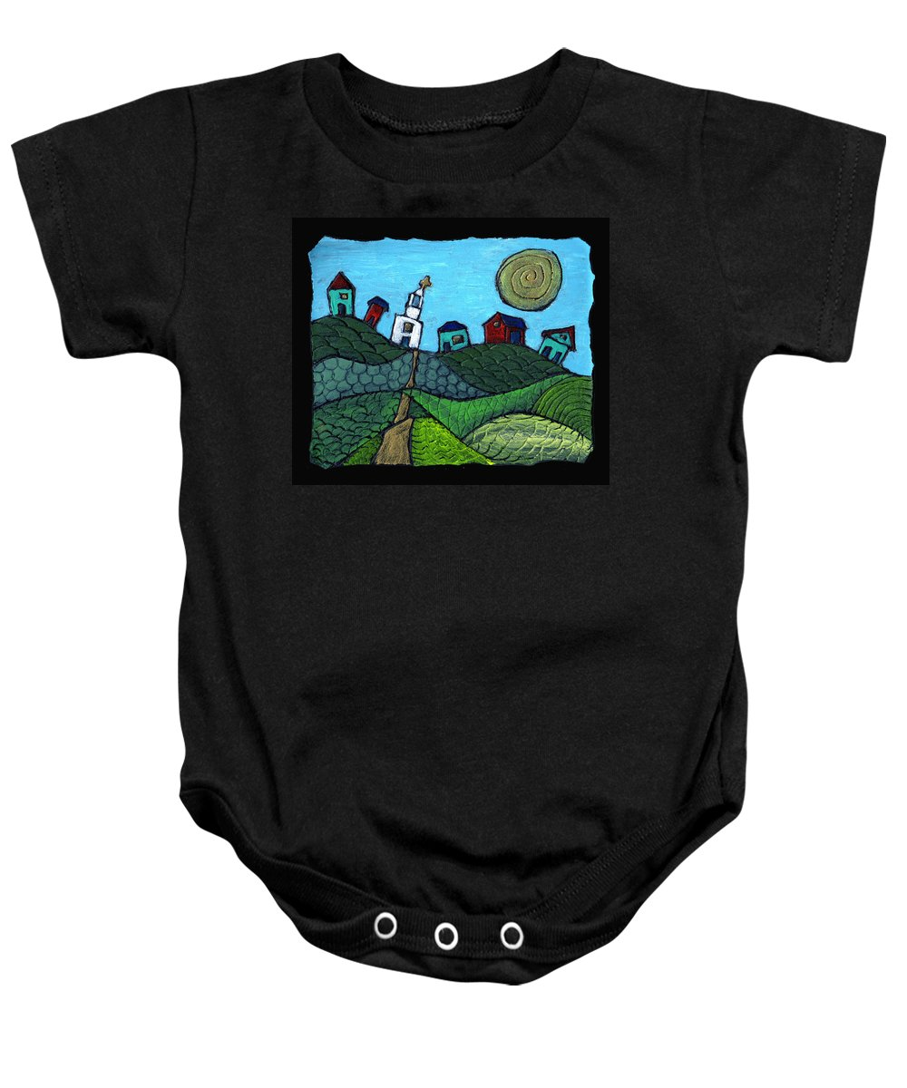 Whimsical Baby Onesie featuring the painting Spring Comes To The Valley by Wayne Potrafka