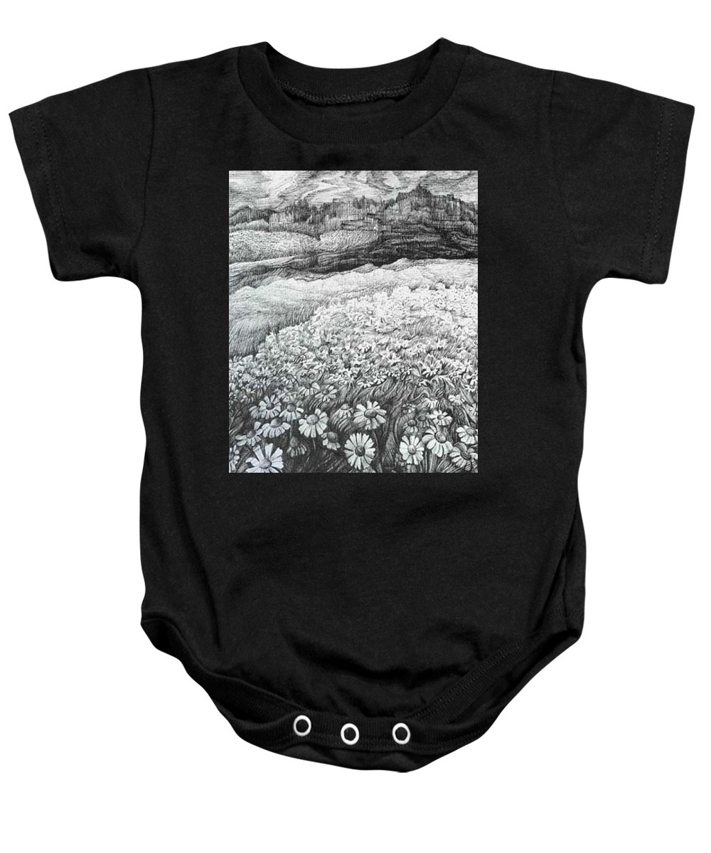 Flower Baby Onesie featuring the drawing Spring Flowers by Anna Duyunova