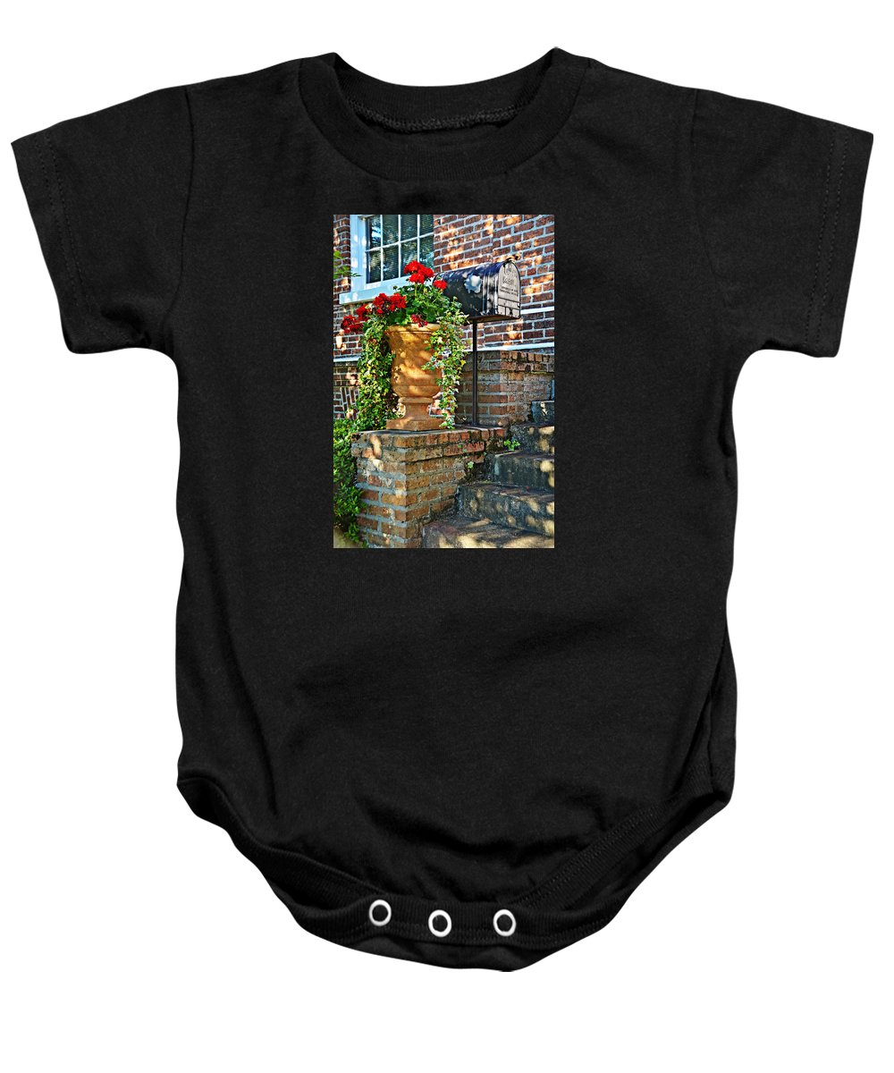 Steps Baby Onesie featuring the photograph Spring Geraniums by Linda Brown