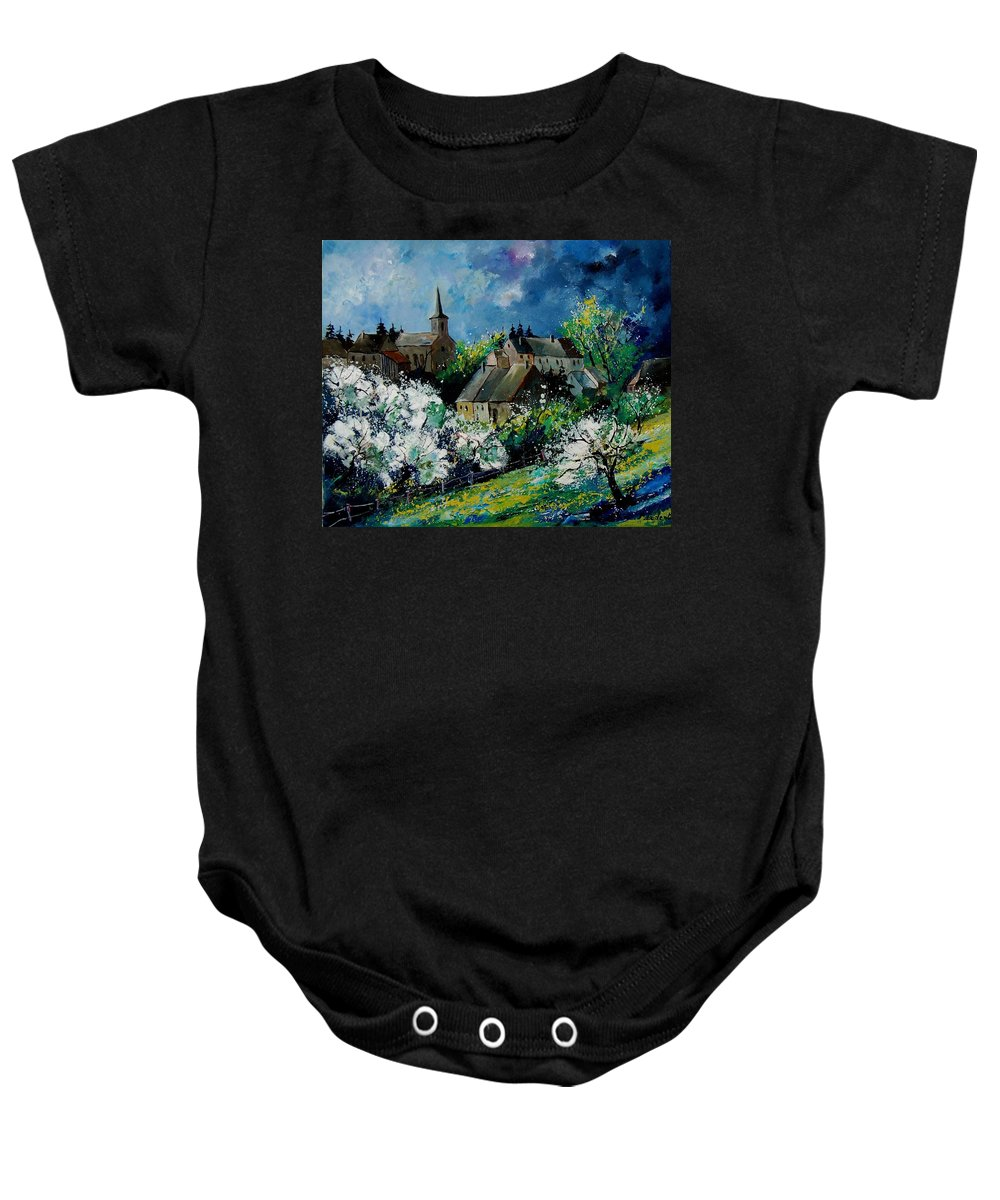 Spring Baby Onesie featuring the painting Spring In Fays Famenne by Pol Ledent