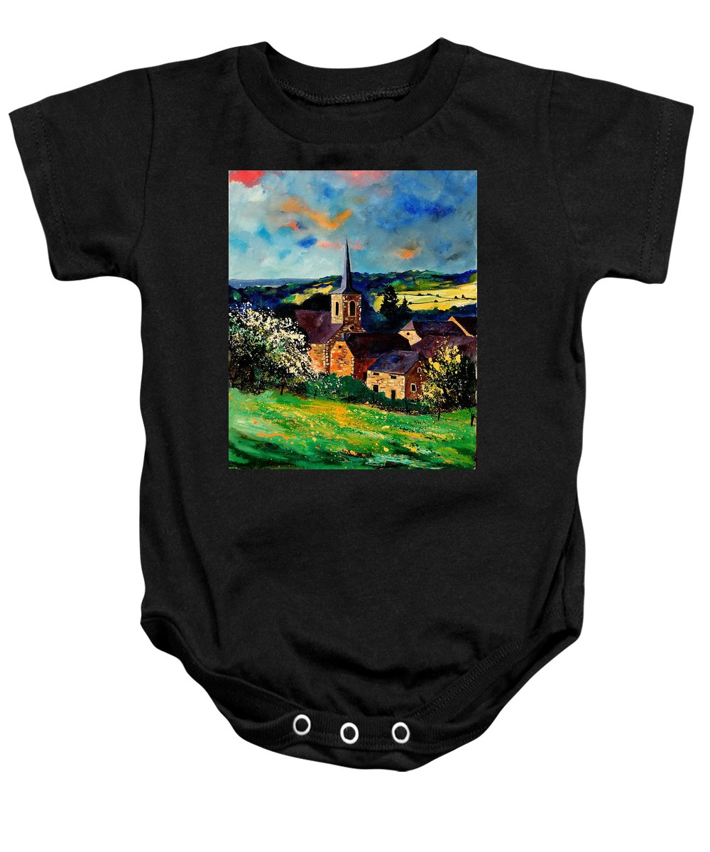 Spring Baby Onesie featuring the painting Spring In Gendron by Pol Ledent