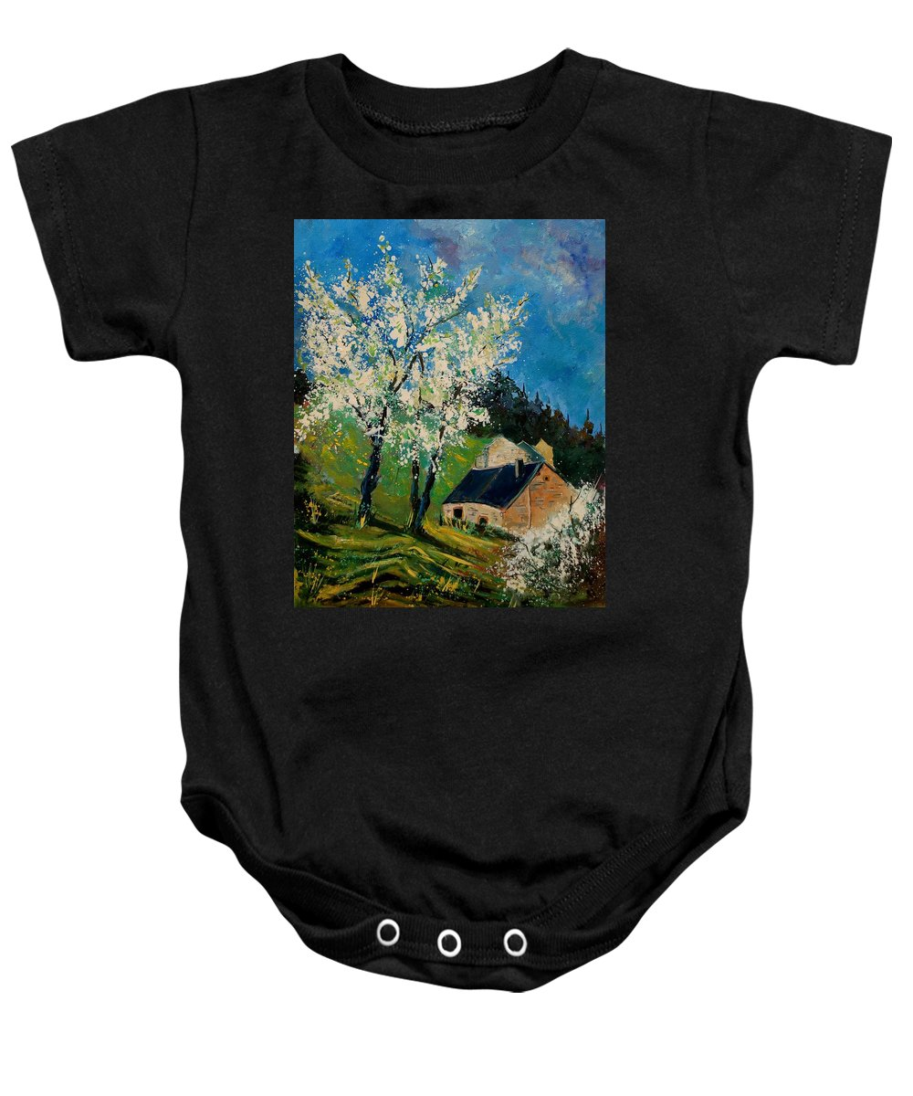 Spring Baby Onesie featuring the painting Spring In Hierges by Pol Ledent