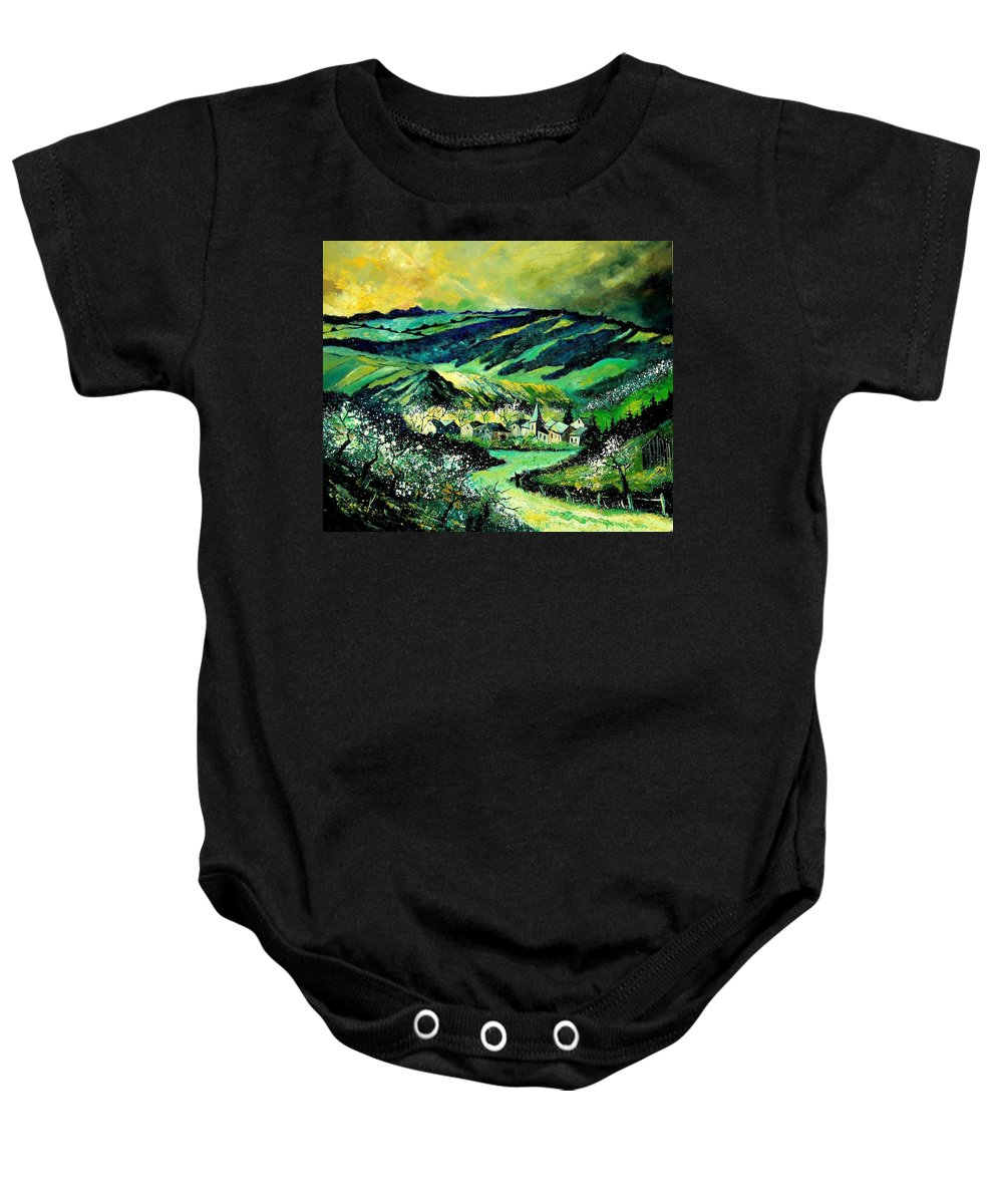Landscape Baby Onesie featuring the painting Spring In Tha Ardennes by Pol Ledent