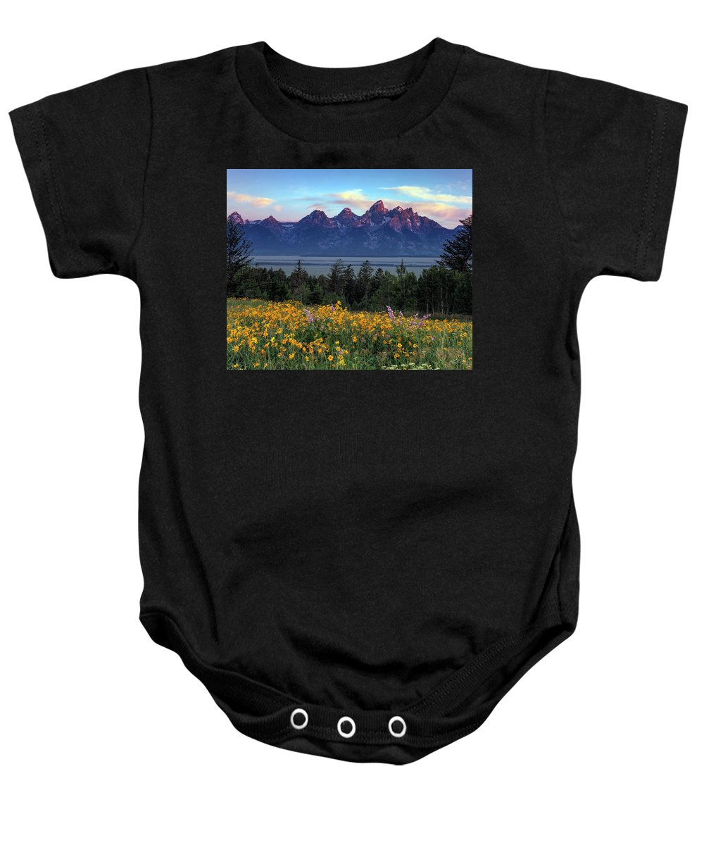 Spring In The Tetons Baby Onesie featuring the photograph Spring In The Tetons by Leland D Howard