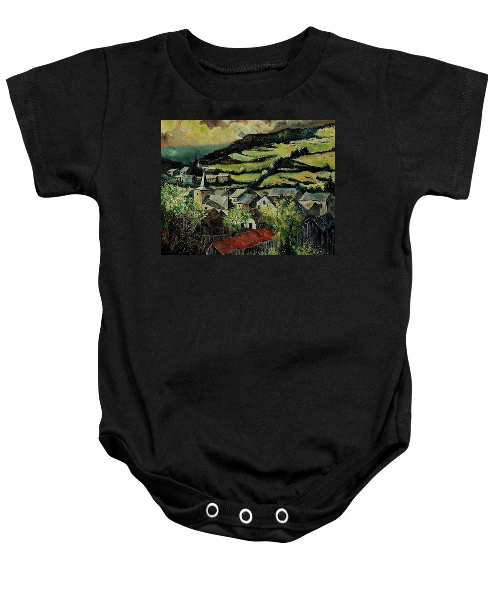 Spring Baby Onesie featuring the painting Spring In Vresse Ardennes Belgium by Pol Ledent