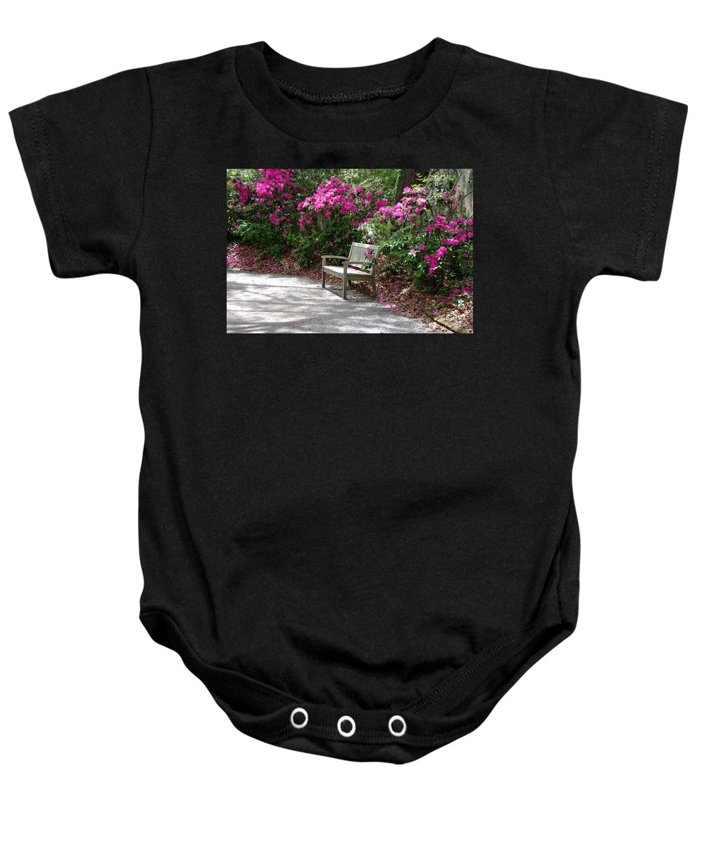 Bench In The Park Baby Onesie featuring the photograph Springtime In The Park by Susanne Van Hulst