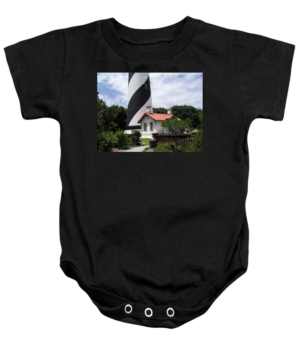 Cottage; Residence; Lighthouse; Light; House; Keeper; St. Augustine; Florida; Coast; Shine; Fog; Sto Baby Onesie featuring the photograph St. Augustine Light On The East Coast Of Florida by Allan Hughes
