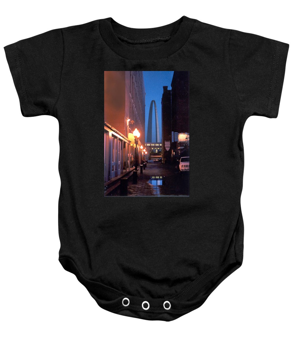 St. Louis Baby Onesie featuring the photograph St. Louis Arch by Steve Karol