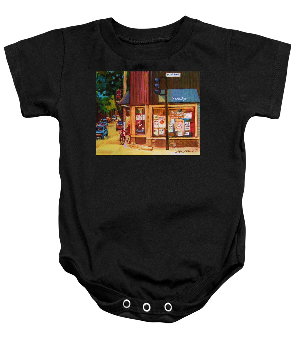 Beautys Baby Onesie featuring the painting St Urbain And Mount Royal by Carole Spandau