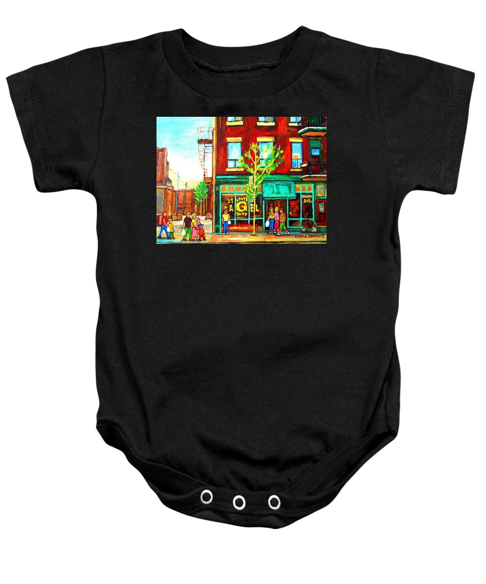Cityscapes Baby Onesie featuring the painting St. Viateur Bagel With Shoppers by Carole Spandau