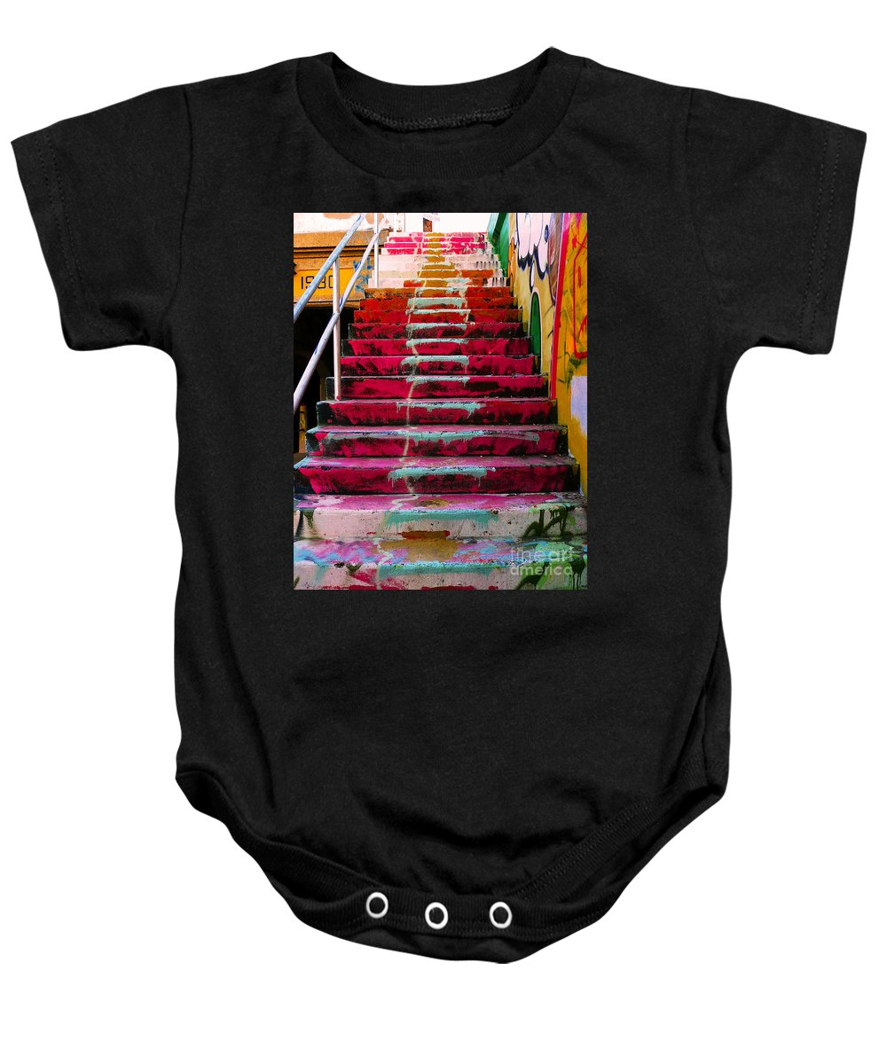 Stairs Baby Onesie featuring the photograph Stairs by Angela Wright