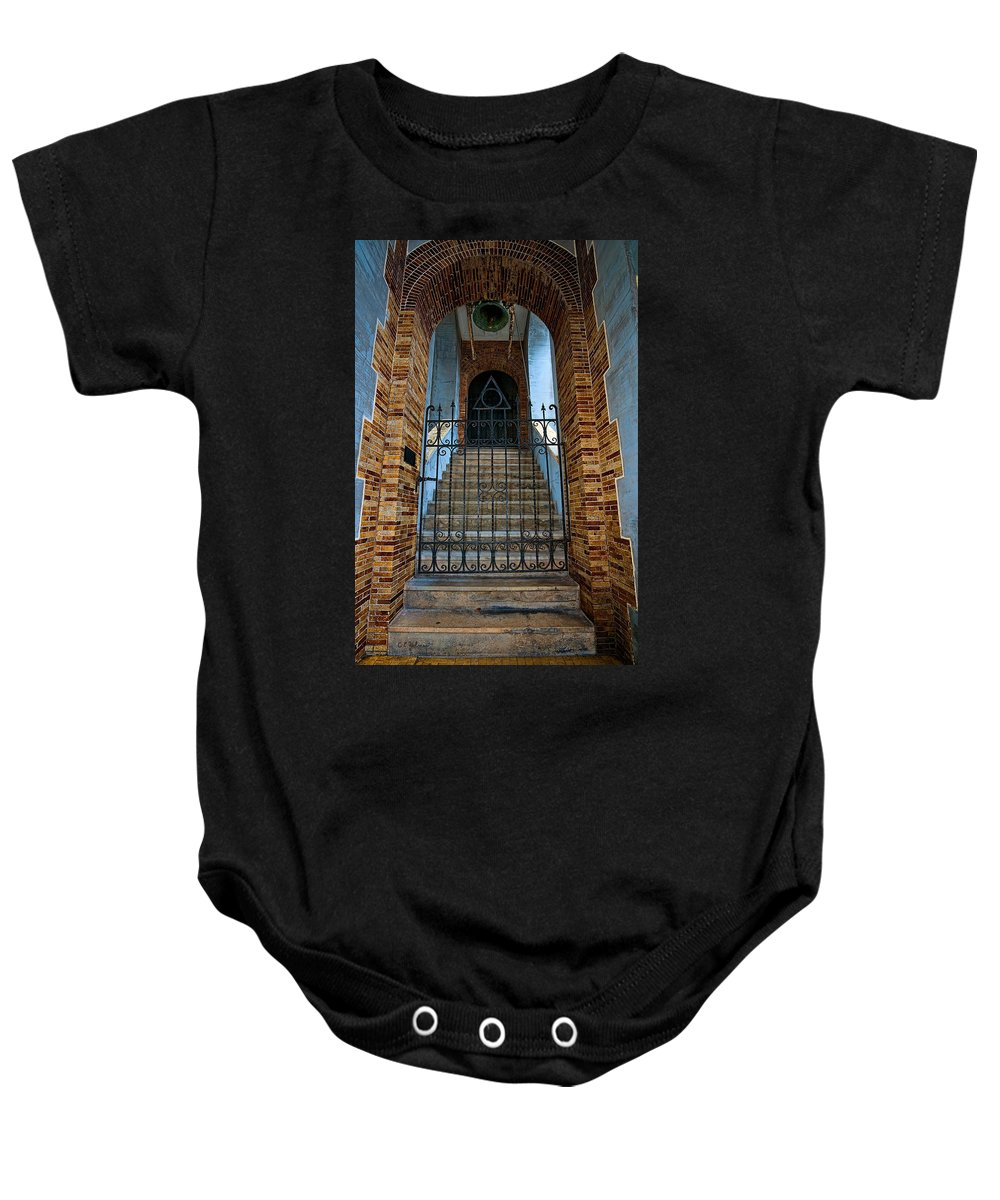Architecture Baby Onesie featuring the photograph Stairs Beyond by Christopher Holmes