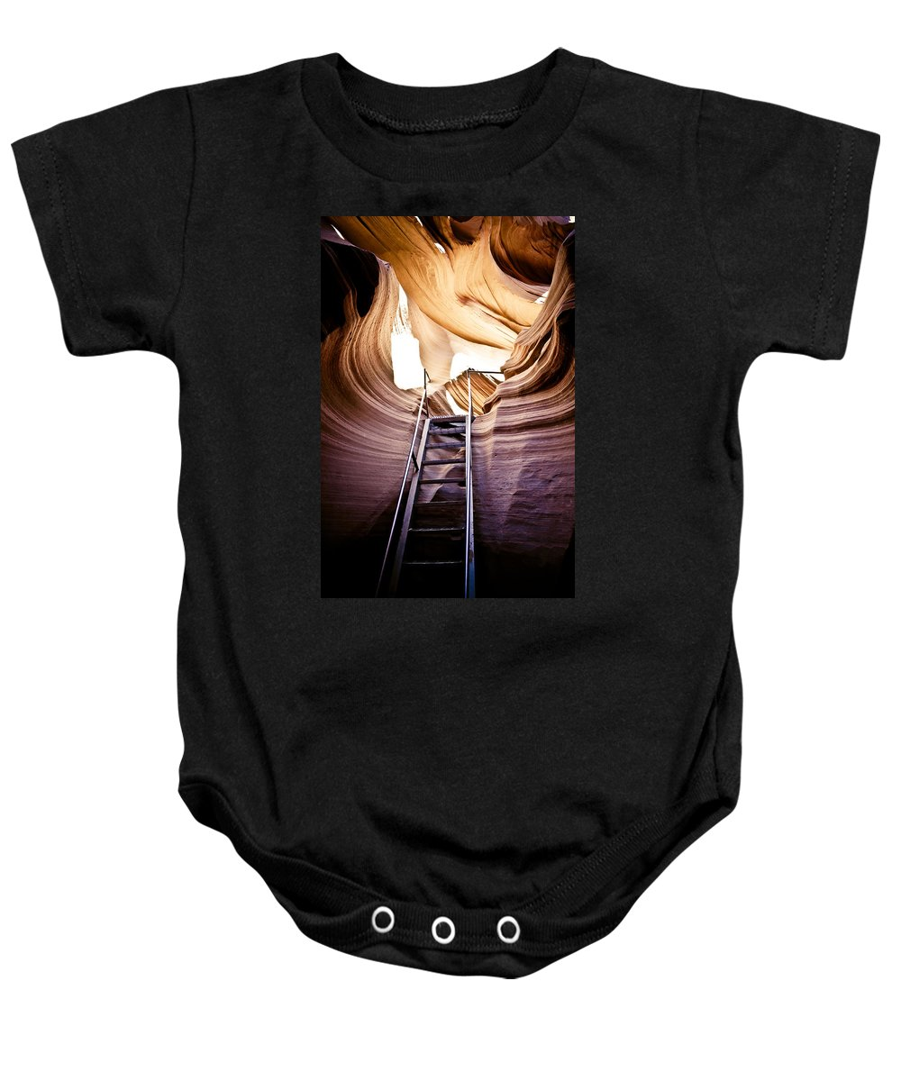 Canyon Baby Onesie featuring the photograph Stairs From Chaos by Scott Sawyer