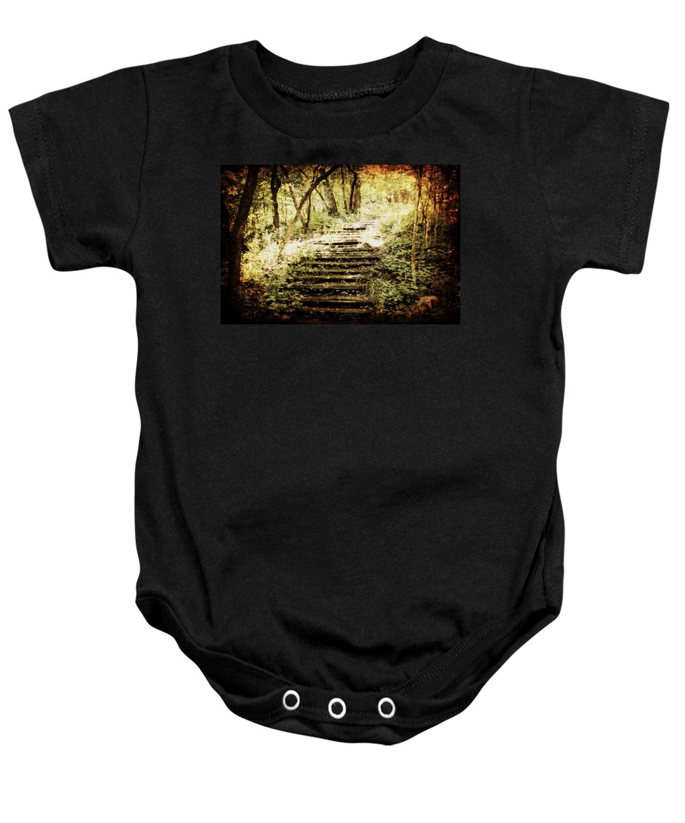 Path Baby Onesie featuring the photograph Stairway To Heaven by Julie Hamilton