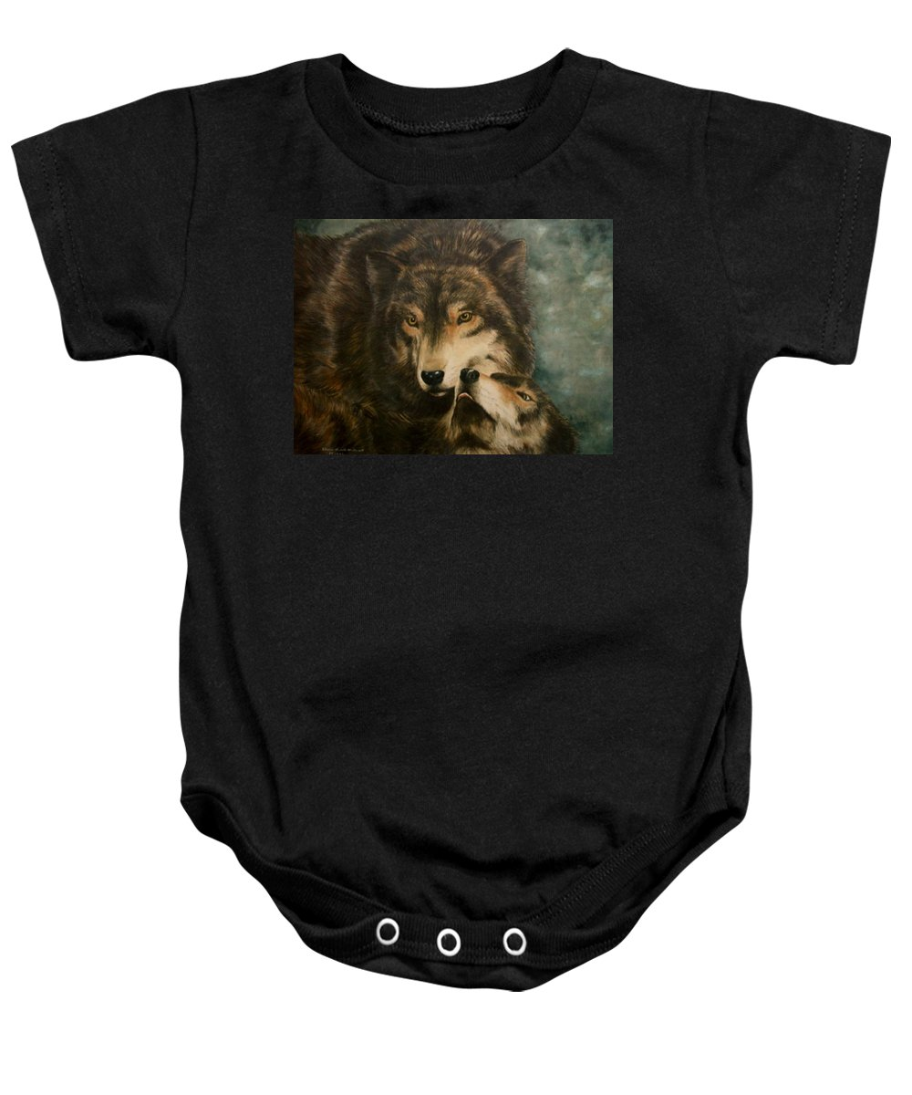 Wolf Baby Onesie featuring the painting Stand By Me - Wolves by Elaine Booth-Kallweit