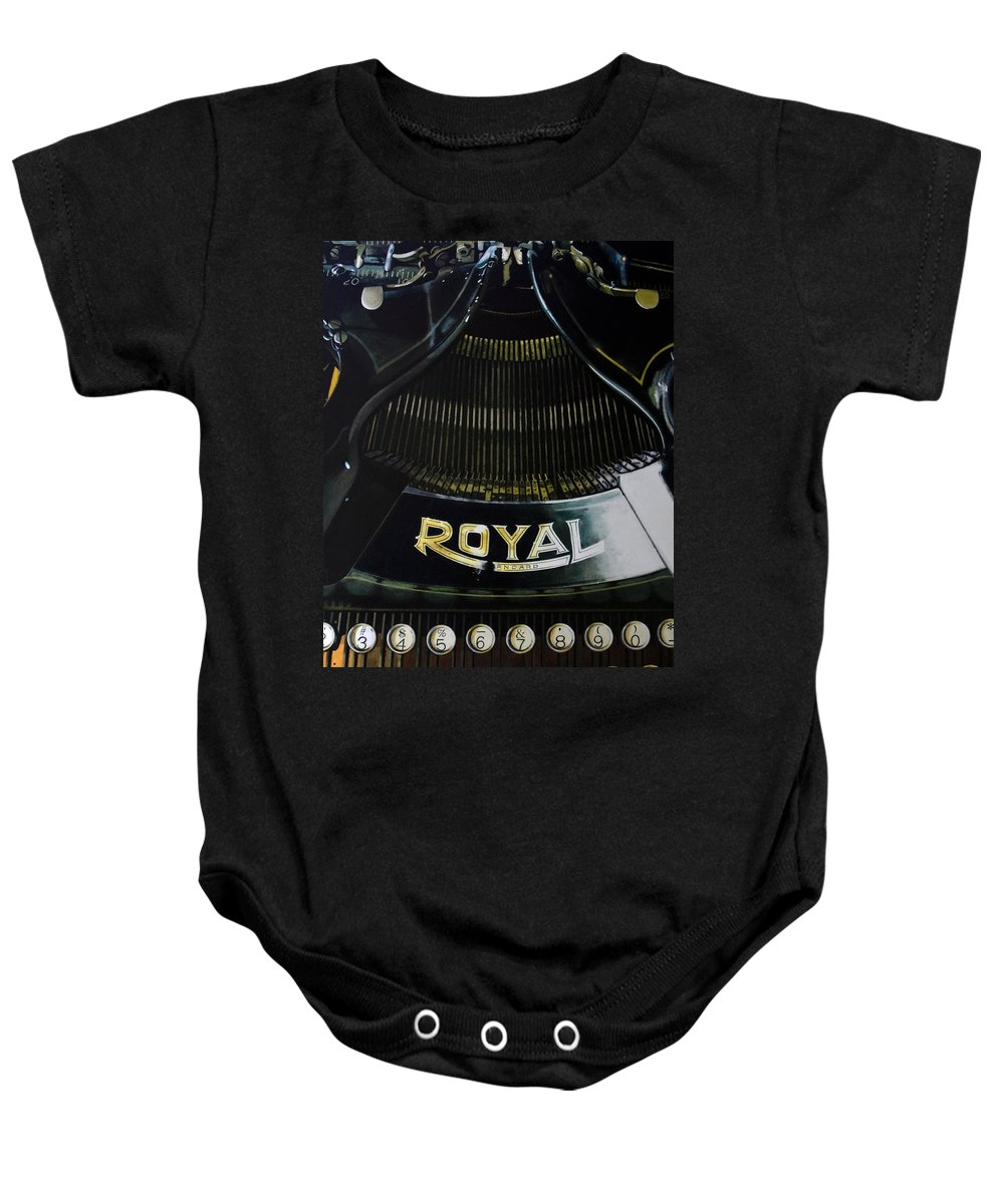 Typewriter Baby Onesie featuring the painting Standard by Denny Bond