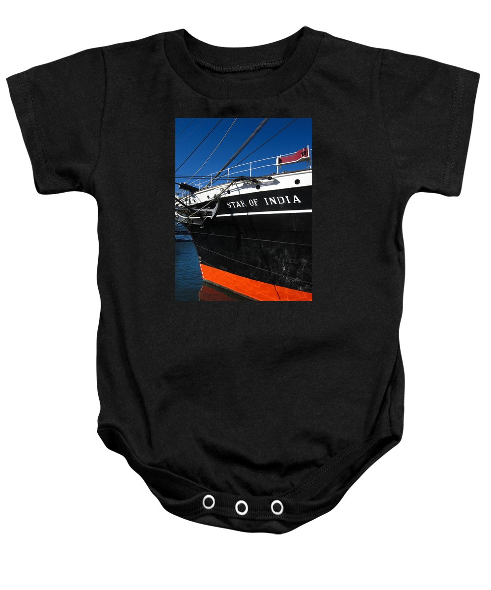 San Diego Baby Onesie featuring the photograph Star Of India Tall Ship San Diego Bay by Sharon French