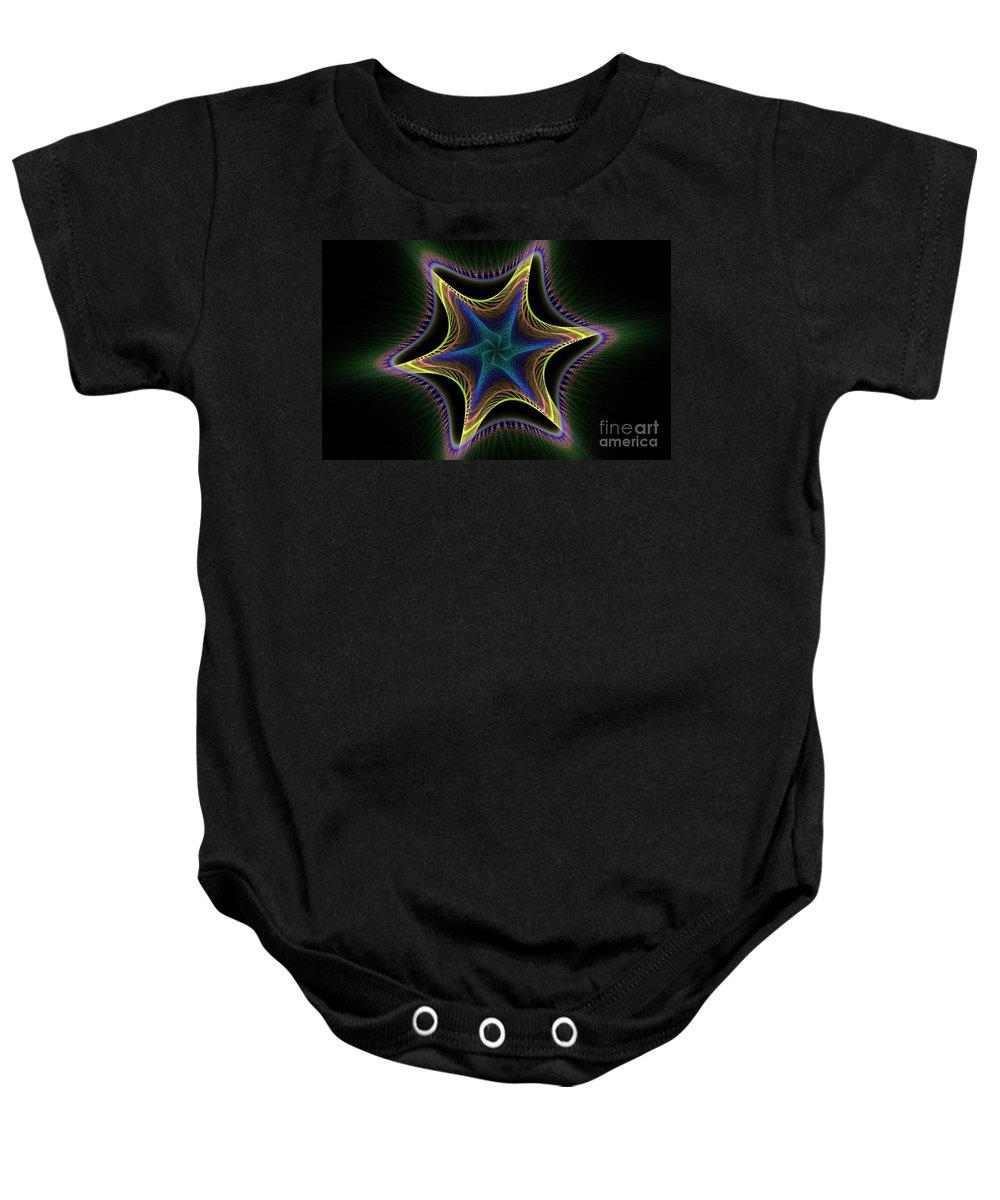 Apophysis Baby Onesie featuring the digital art Star Twist Spiral by Deborah Benoit