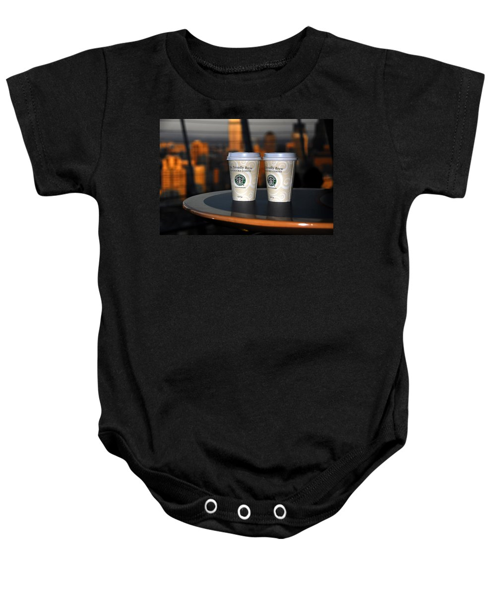 Coffee Baby Onesie featuring the photograph Starbucks At The Top by David Lee Thompson