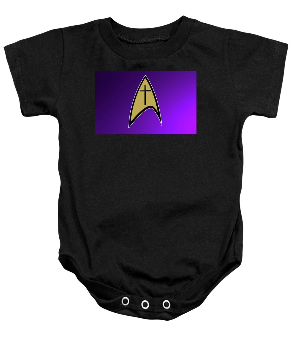 Star Trek Baby Onesie featuring the digital art Starfleet Pastor by Aaron Beaty