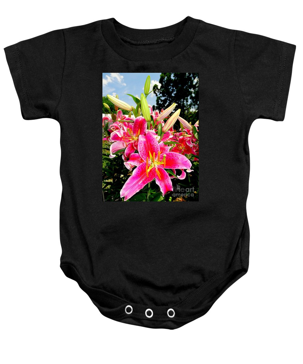 Nature Baby Onesie featuring the photograph Stargazer Lilies #2 by Ed Weidman