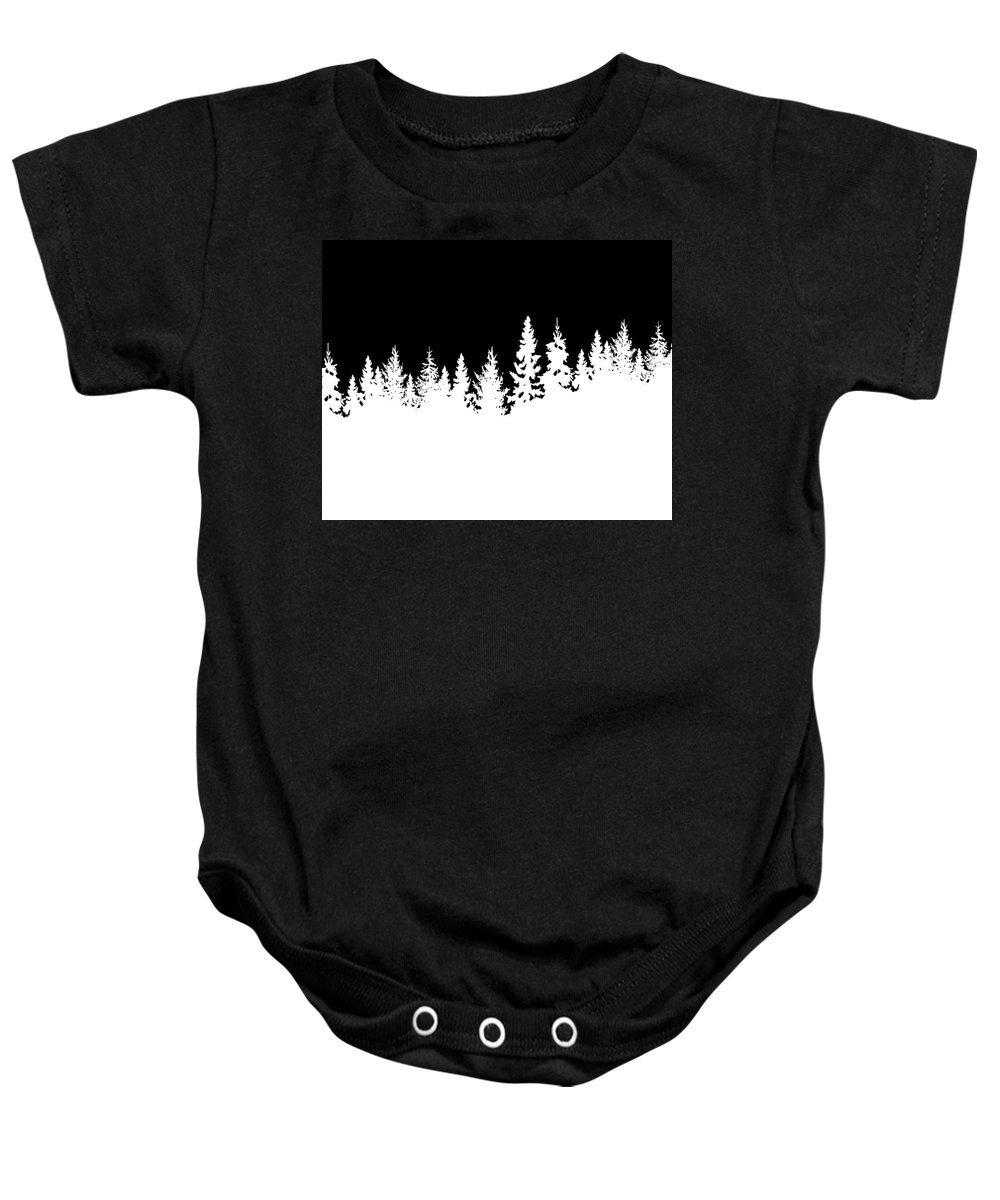 Winter Baby Onesie featuring the mixed media Stark Winter by Maura Satchell