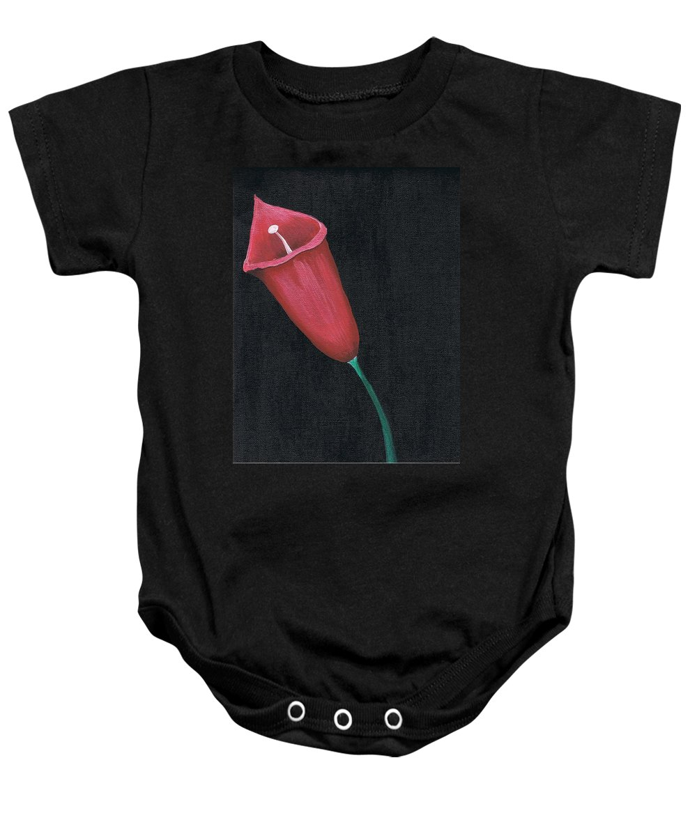 Red Baby Onesie featuring the painting Starr Lilly by Jen Venuti