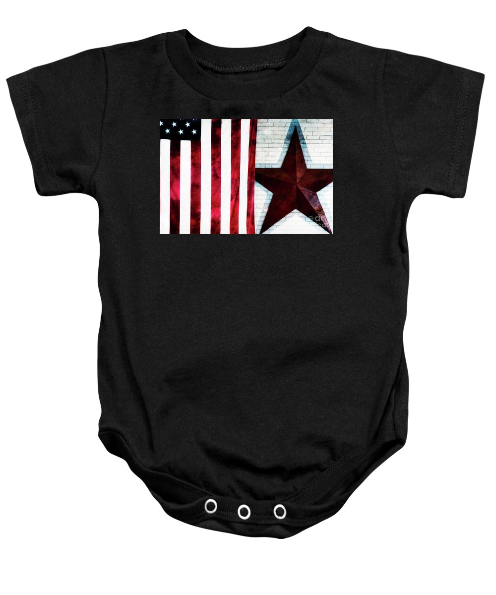 American Flag Baby Onesie featuring the photograph Stars And Stripes by Doug Sturgess