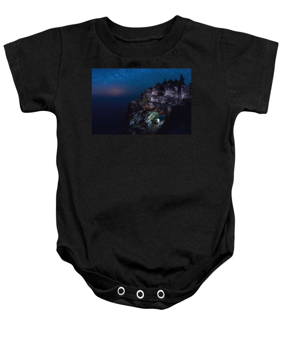 Landscape Baby Onesie featuring the photograph Stars Over The Grotto by Cale Best