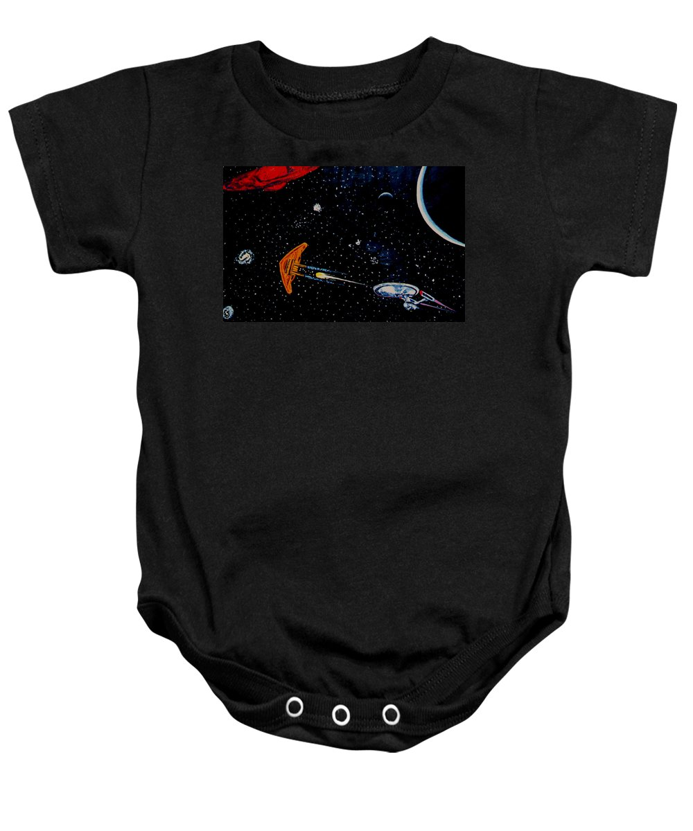 Startrel.scoemce Foxopm.s[ace.[;amets.stars Baby Onesie featuring the painting Startrek by Stan Hamilton