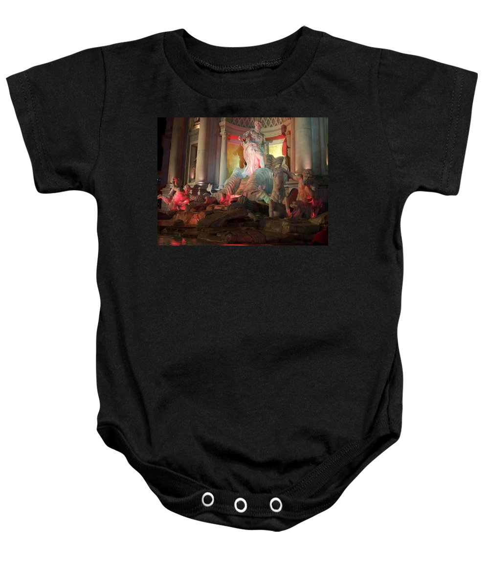 Ceasars Palace Baby Onesie featuring the photograph Statues At Ceasars Palace by Anita Burgermeister
