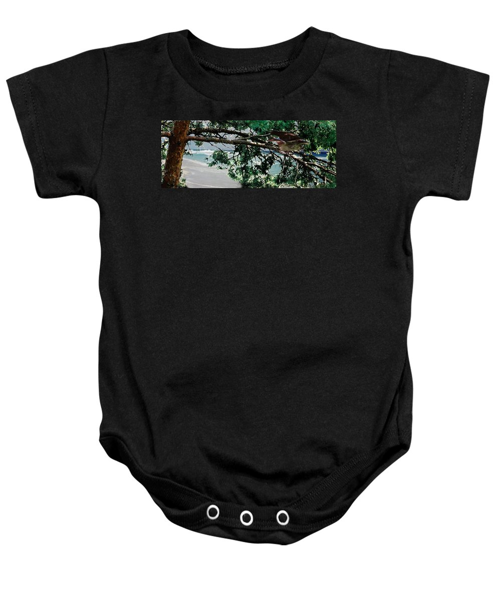 Landscape Baby Onesie featuring the painting Stealth by Steve Karol