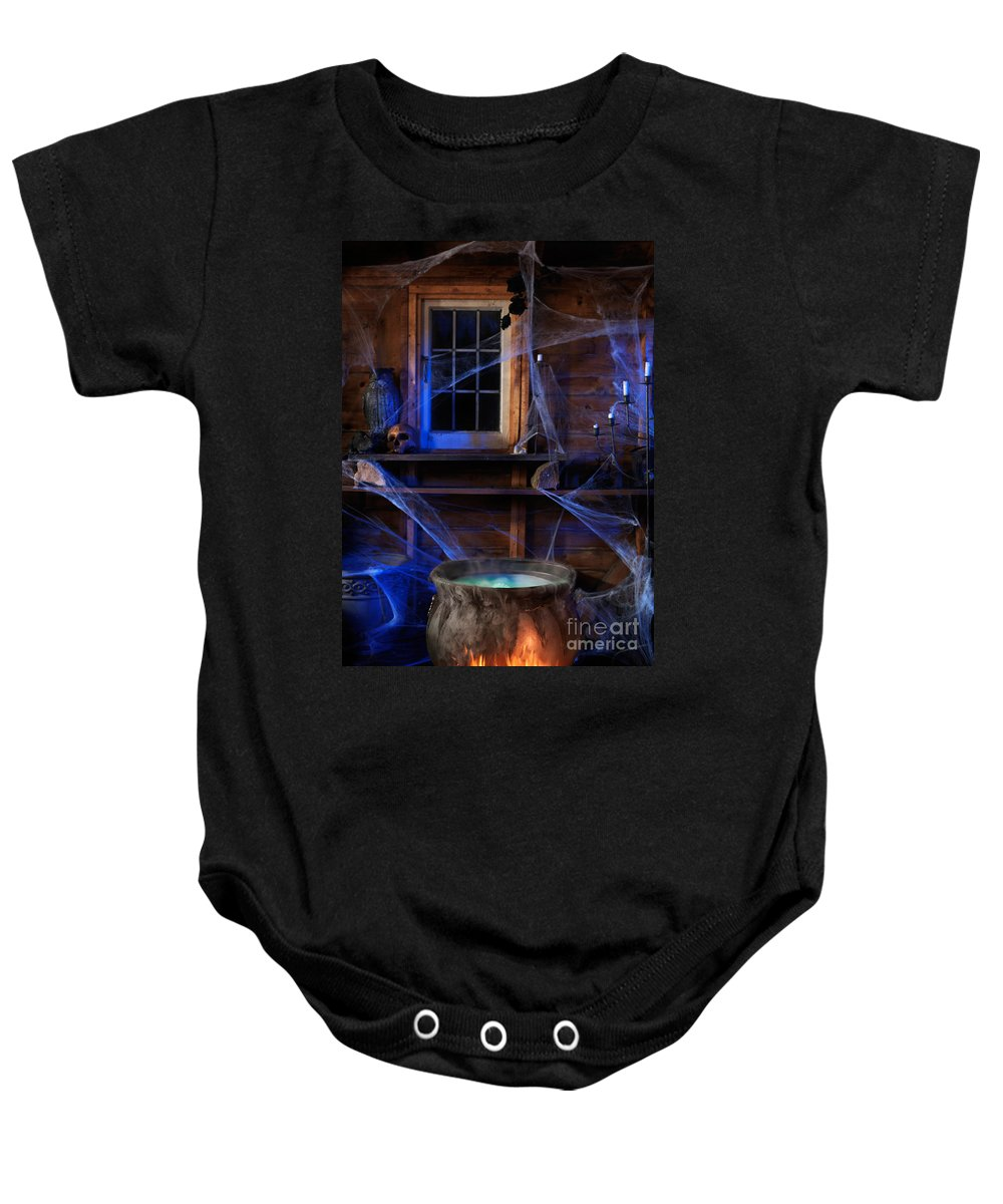 Cauldron Baby Onesie featuring the photograph Steaming Cauldron In A Witch Cabin by Oleksiy Maksymenko