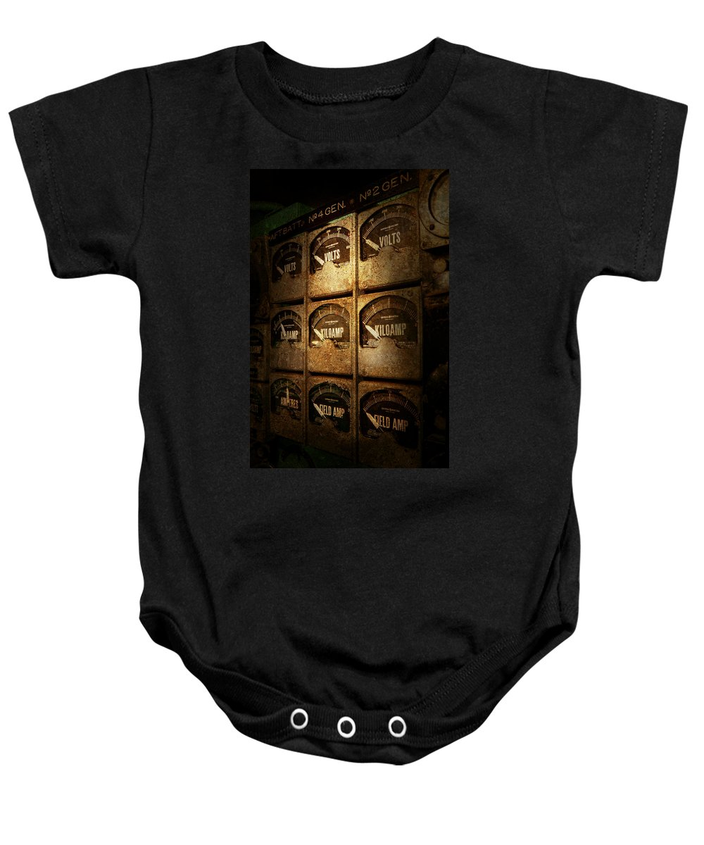 Meter Baby Onesie featuring the photograph Steampunk - Naval - Electric - Power Grid by Mike Savad