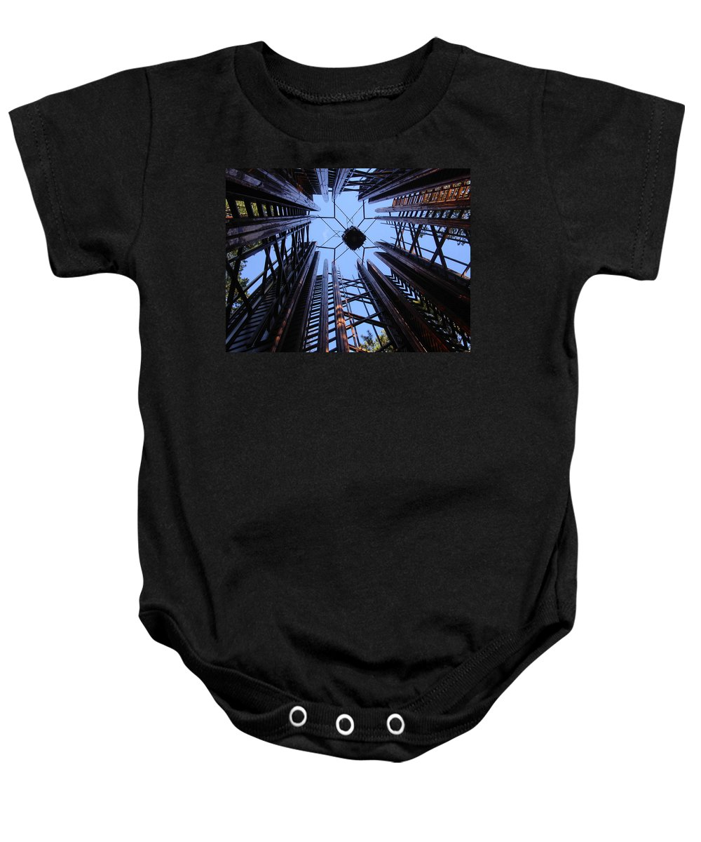 Steel Baby Onesie featuring the photograph Steel And Sky by Anne Cameron Cutri