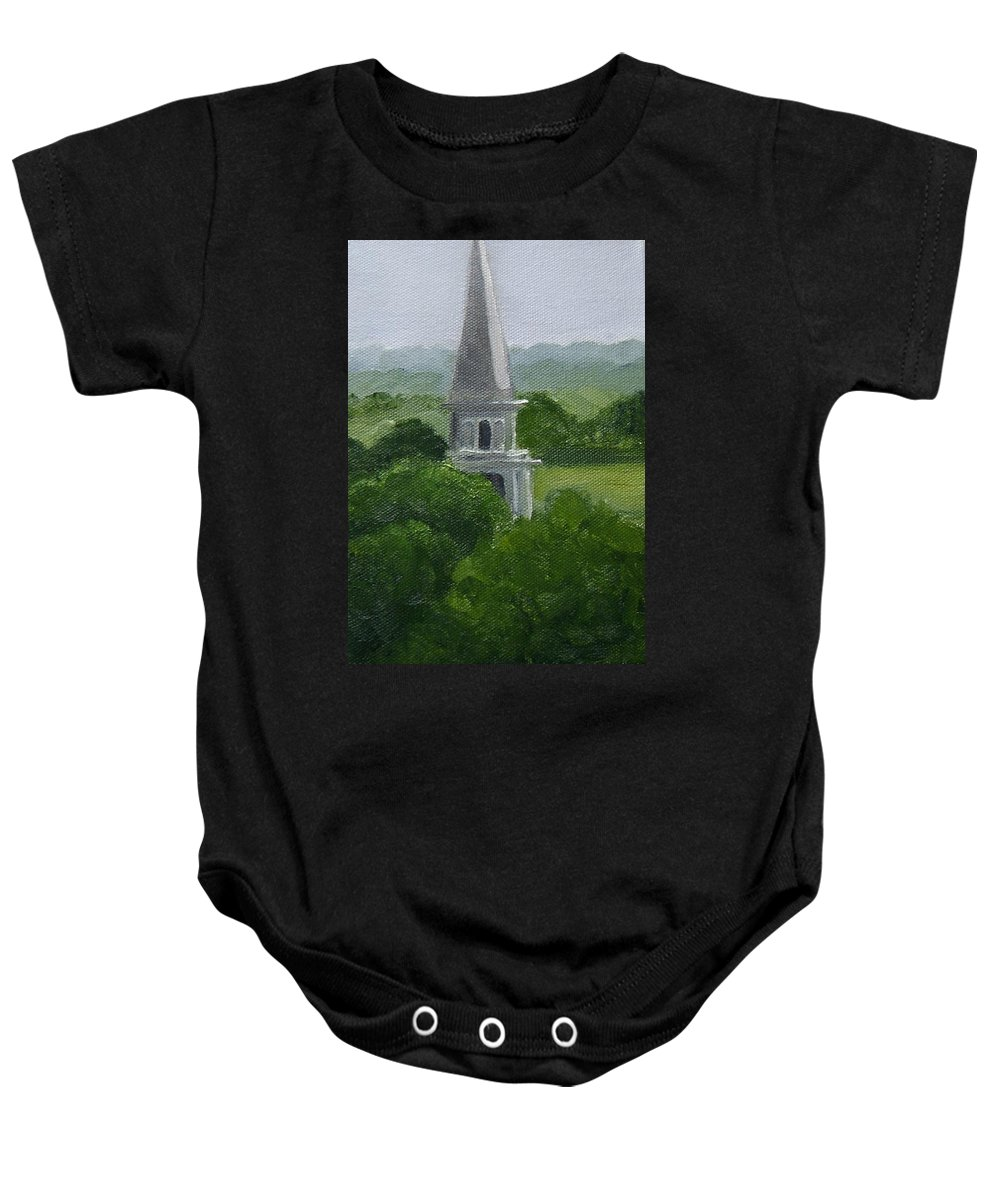 Steeple Baby Onesie featuring the painting Steeple by Toni Berry