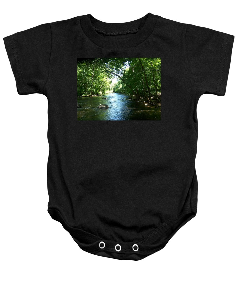 River Baby Onesie featuring the photograph Stephens State Park by Laurie Paci