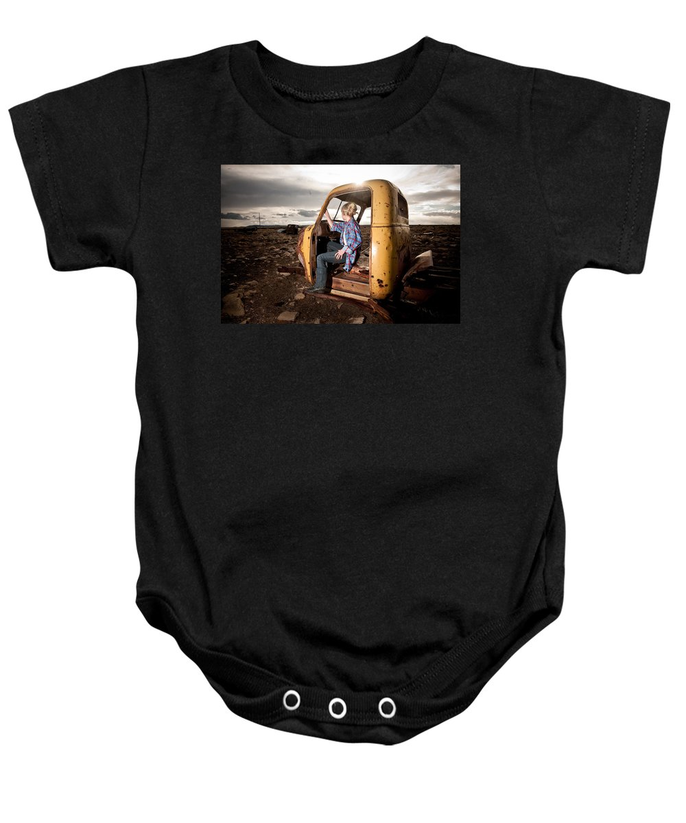 Old Truck Cab Baby Onesie featuring the photograph Stepping Away by Scott Sawyer