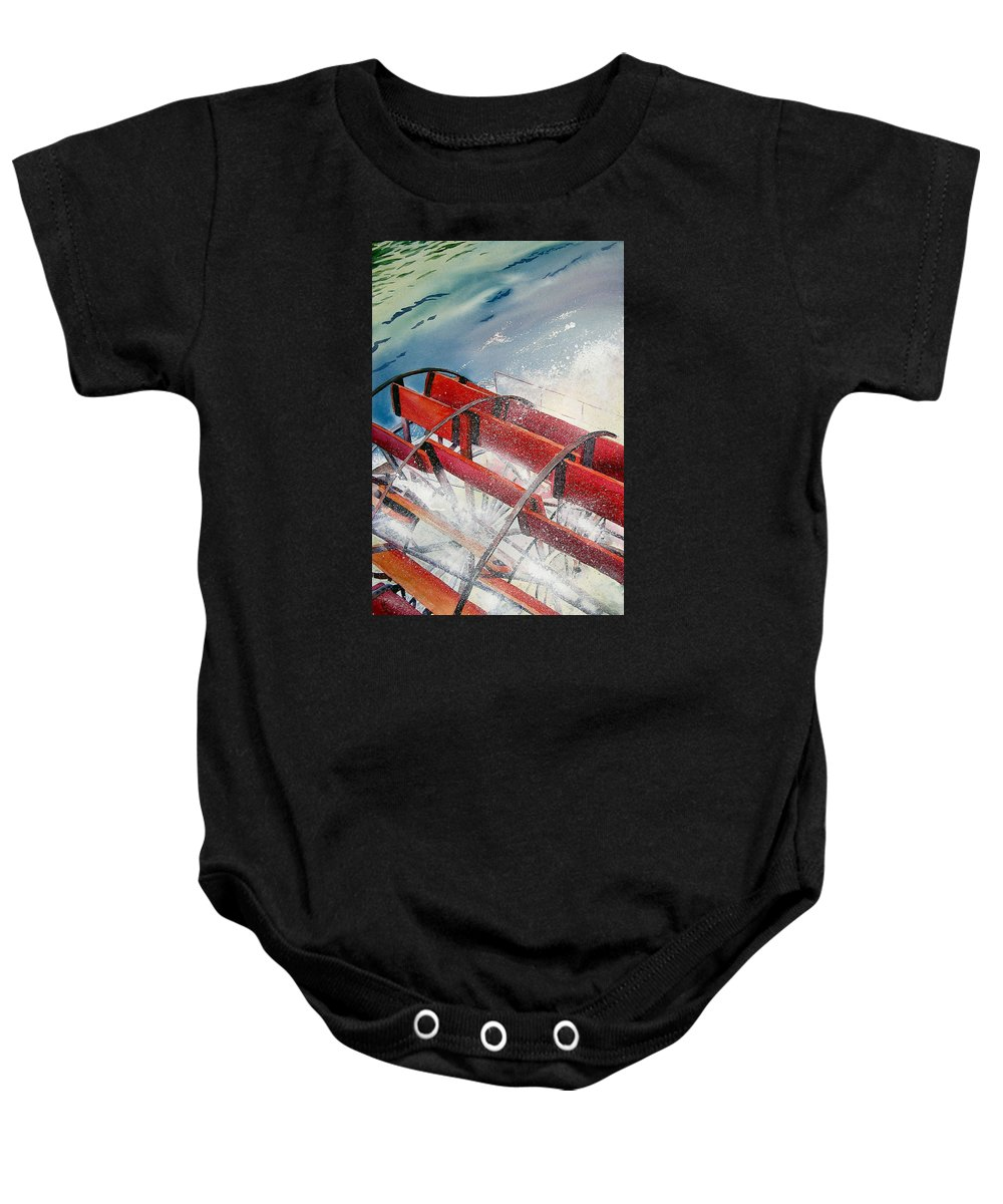 Paddlewheeler Baby Onesie featuring the painting Sternwheeler Splash by Karen Stark