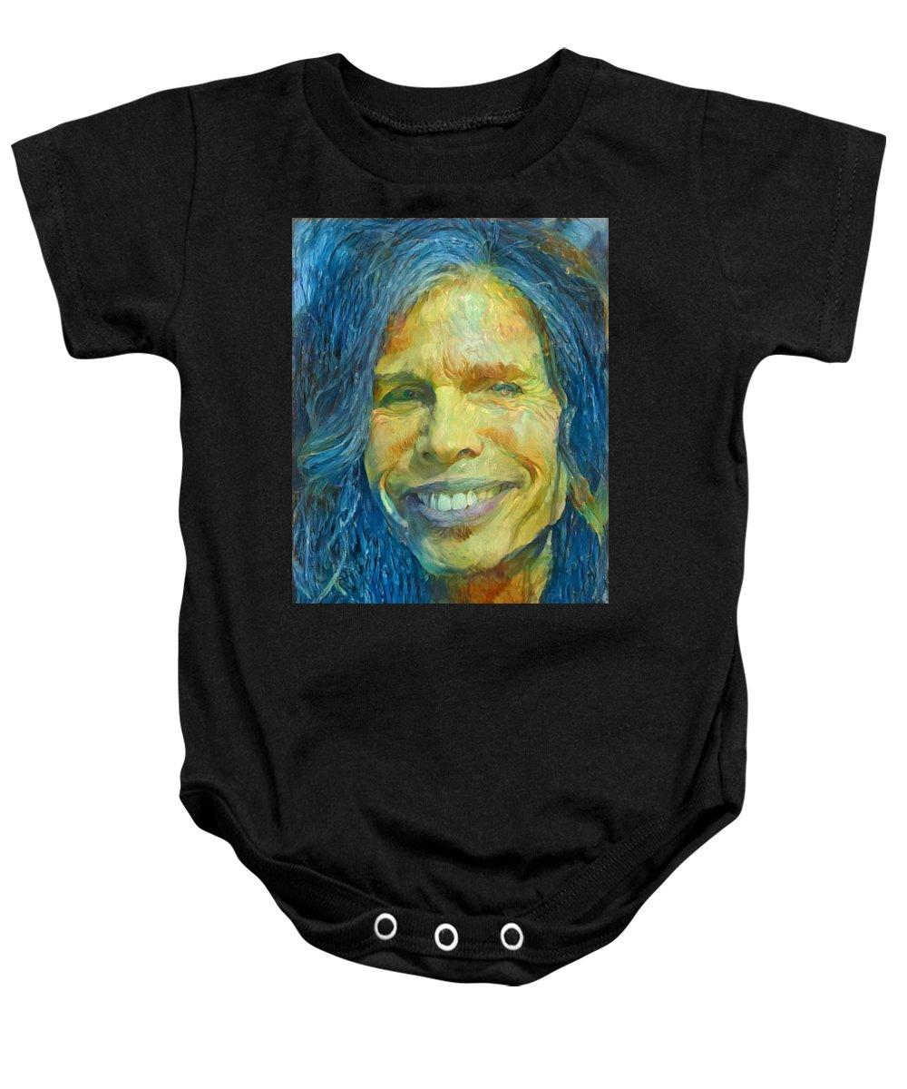 Steven Tyler Baby Onesie featuring the painting Steven Tyler by Paul Van Scott