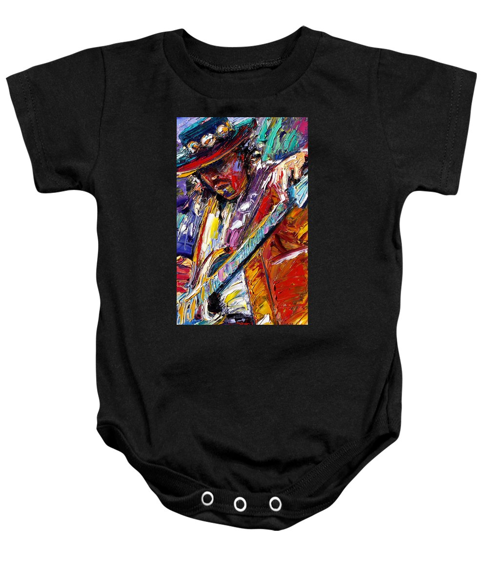 Rock Baby Onesie featuring the painting Stevie Ray Vaughan Number One by Debra Hurd