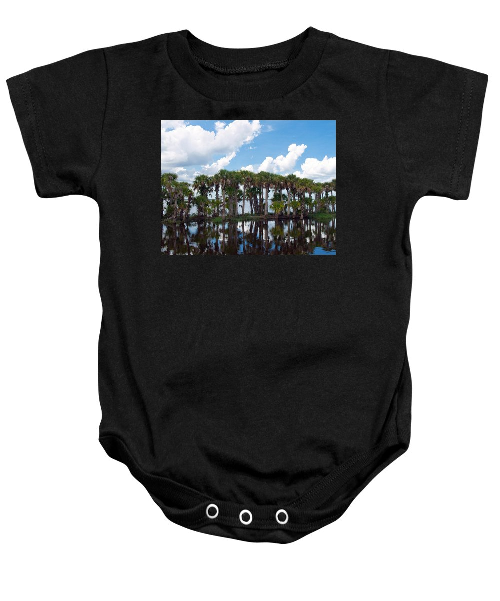 Florida; Water; Canal; Stick; Marsh; Drowned; Trees; Drown; Fellsmere; Sebastian; River; Indian; Clo Baby Onesie featuring the photograph Stick Marsh In Fellsmere Florida by Allan Hughes