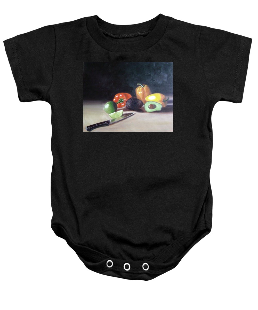 Baby Onesie featuring the painting Still-life by Toni Berry