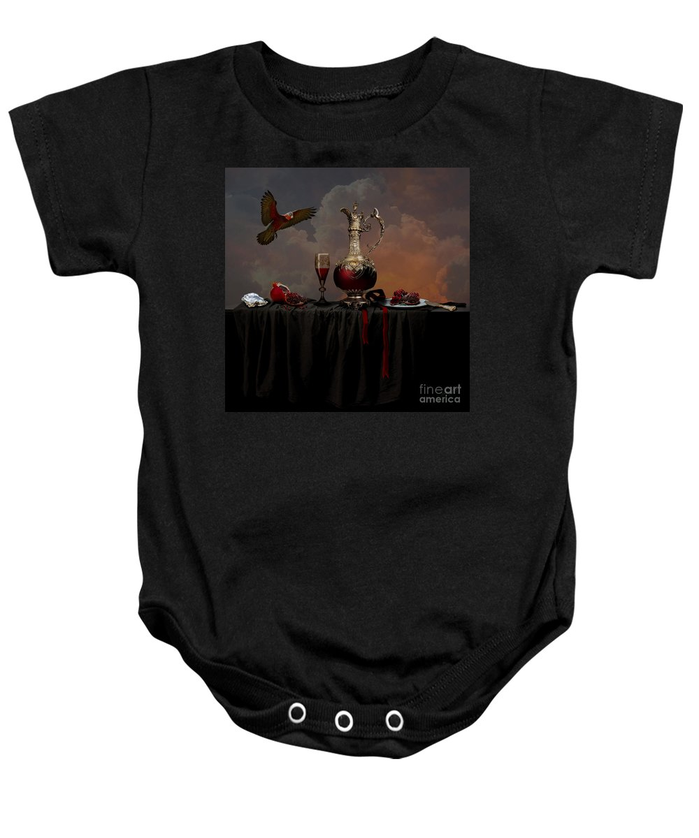 Red Baby Onesie featuring the photograph Still Life With Pomegranate by Alexa Szlavics