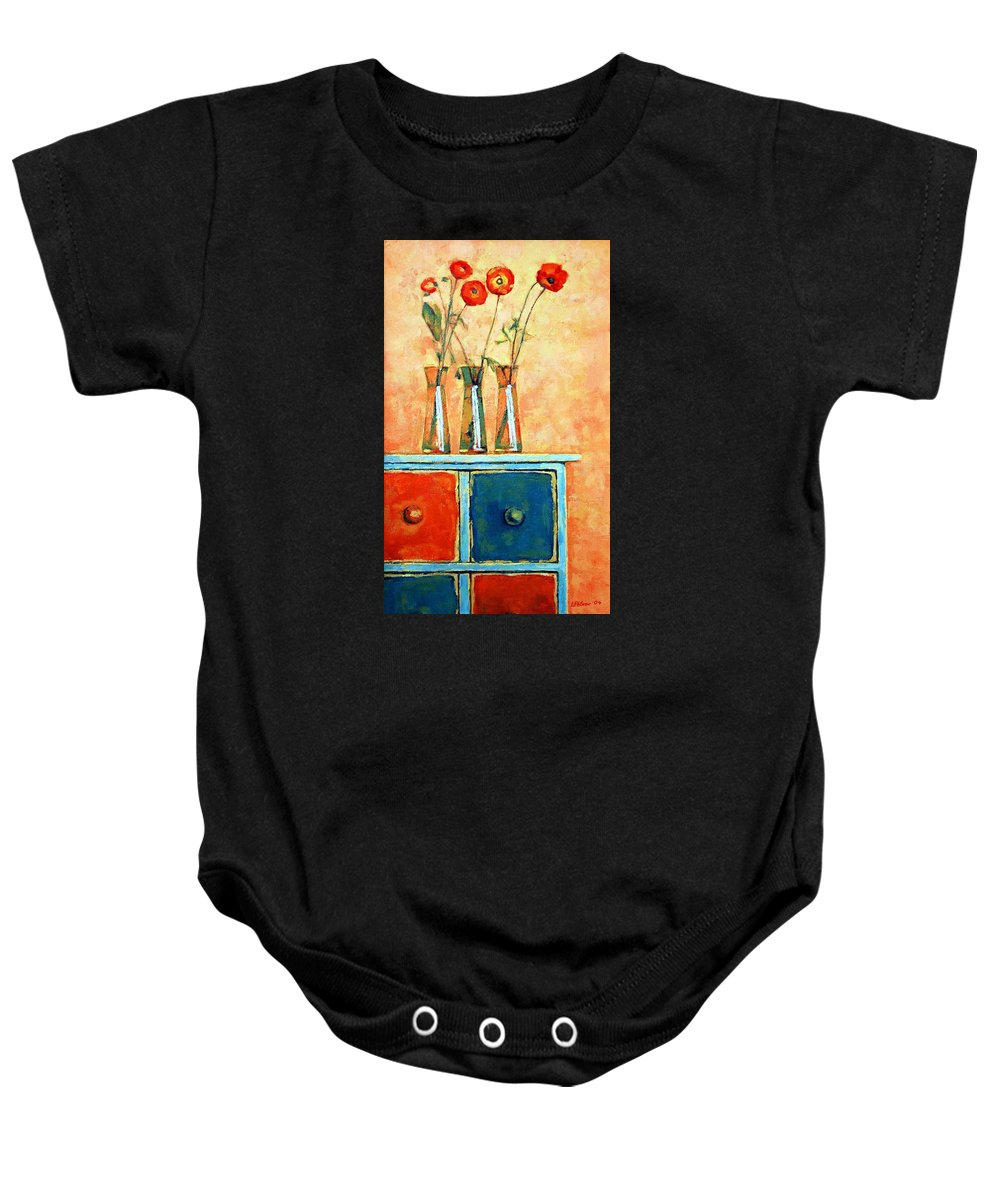 Poppies Baby Onesie featuring the painting Still life with poppies by Iliyan Bozhanov