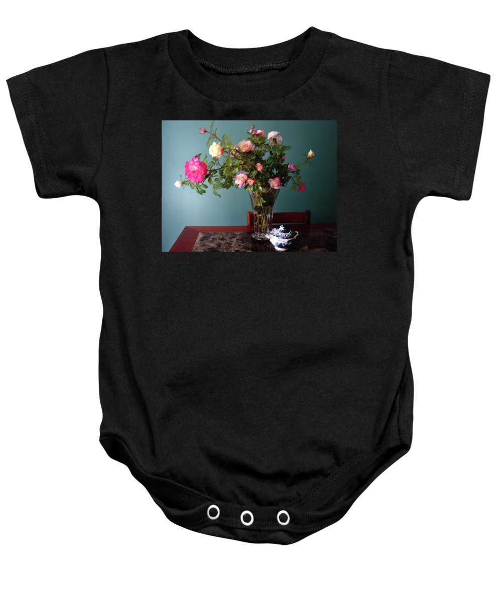 Roses Baby Onesie featuring the mixed media Still Life With Roses by Steve Karol