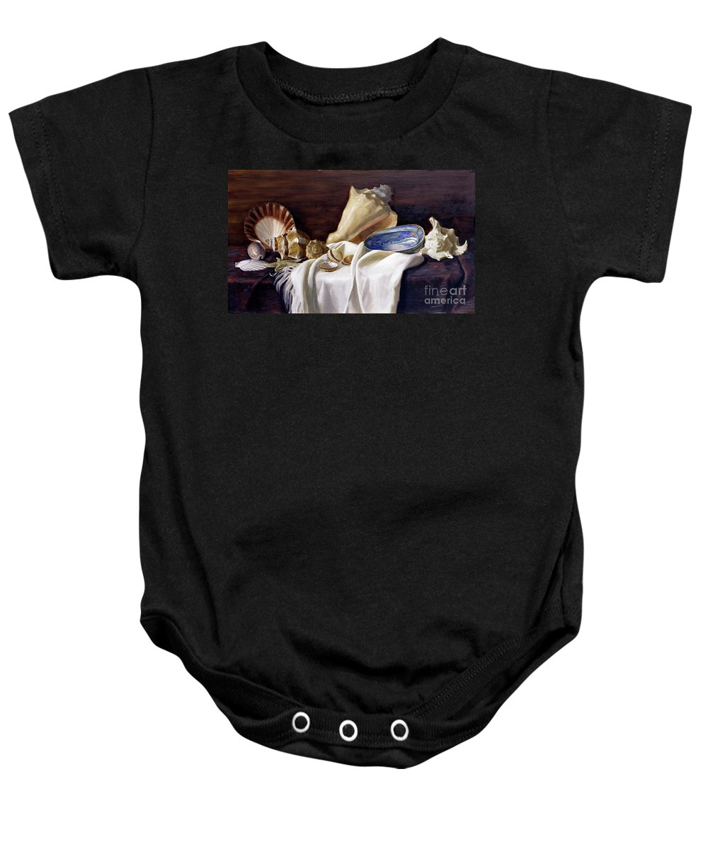 Stilllife Baby Onesie featuring the painting Still Life With Shells by Simon Kozhin